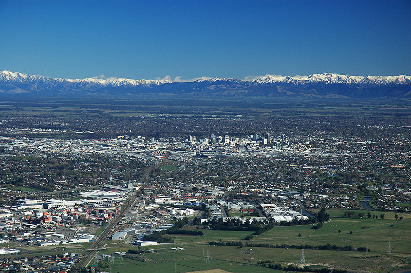 Christchurch City from the Port Hills with the Southern Alps in the distance