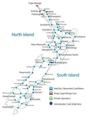 New Zealand national bus and coach routes and destinations - Click on map to enlarge